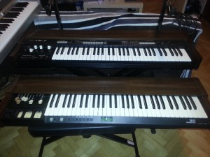 Both keyboards side by side (VK-7 top and bottom XB-2). Both keyboards are equal in size and general purpose. VK-7 is also a synth (see the left top side of the keyboard).